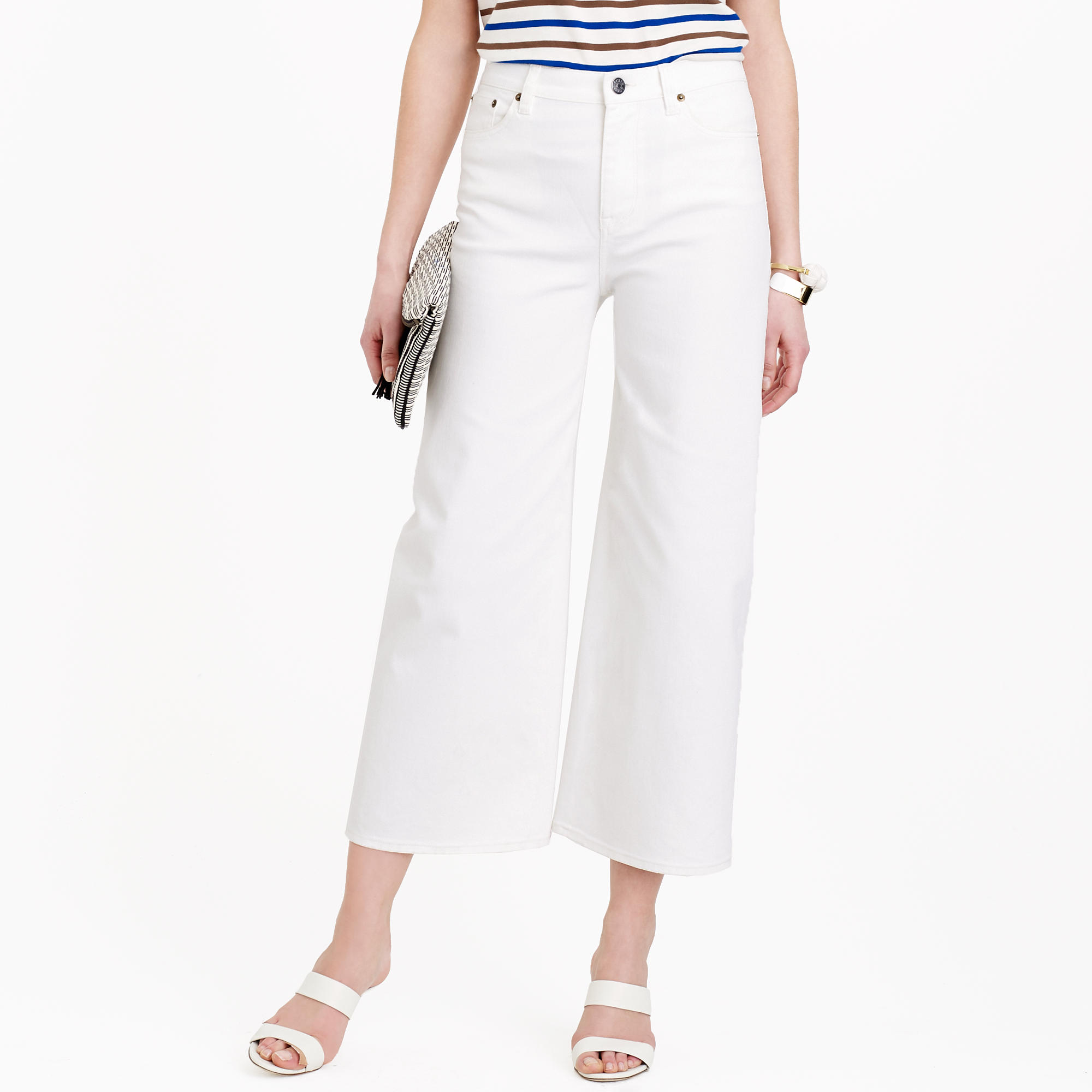 Sale Largest Supplier Cropped High-rise Wide-leg Jeans - White J.crew Outlet Cheapest Outlet Cost Cheap Sale Finishline Cheap Sale Pick A Best 7sP3oo
